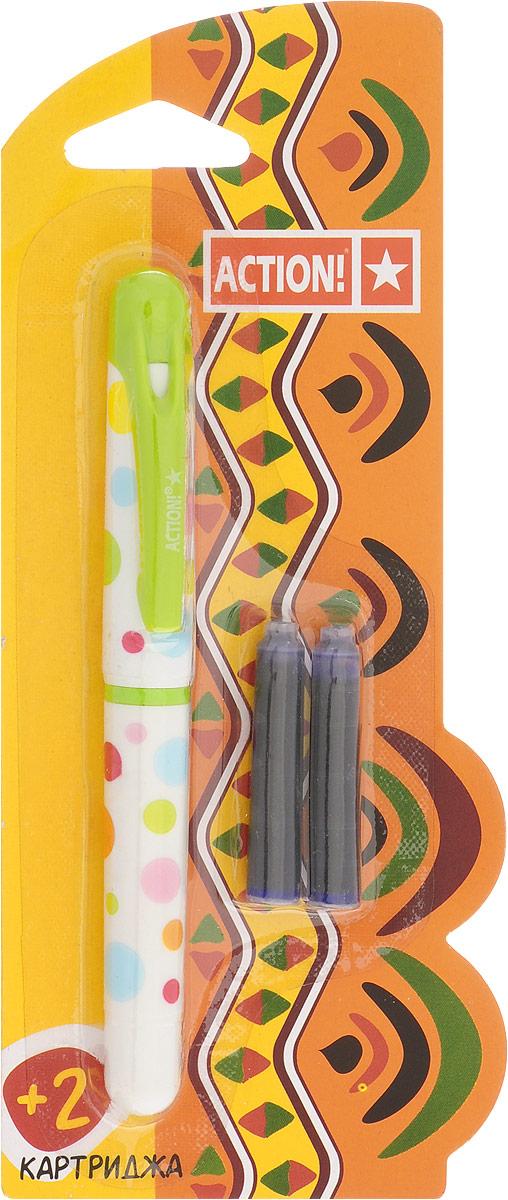 Action! Ручка перьевая с двумя картриджами цвет корпуса салатовый AFP1001C13S041944Перьевая ручка, несомненно, заинтересует ребенка, мечтающего о взрослых предметах письма, а также поможет выработать навыки каллиграфии и исправить хромающий почерк.Перьевая ручка Action! с запасными картриджами отличается от взрослых ручек широким пластиковым корпусом, эргономичной зоной гриппа. В комплекте три чернильных картриджа - один в ручке и два запасных в блистерном отсеке.