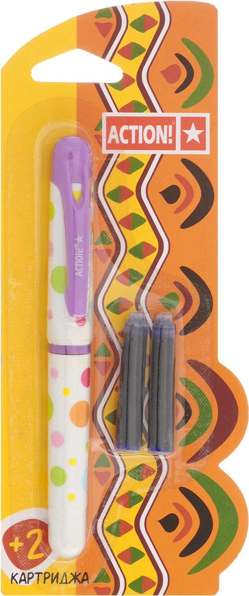 Action! Ручка перьевая с двумя картриджами цвет корпуса сиреневыйAFP1001_сиреневыйПерьевая ручка, несомненно, заинтересует ребенка, мечтающего о взрослых предметах письма, а также поможет выработать навыки каллиграфии и исправить хромающий почерк.Перьевая ручка Action! с запасными картриджами отличается от взрослых ручек широким пластиковым корпусом, эргономичной зоной гриппа. В комплекте три чернильных картриджа - один в ручке и два запасных в блистерном отсеке.