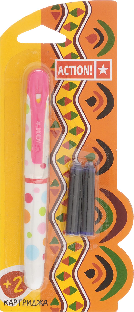 Action! Ручка перьевая с двумя картриджами цвет корпуса розовый AFP100151482Перьевая ручка, несомненно, заинтересует ребенка, мечтающего о взрослых предметах письма, а также поможет выработать навыки каллиграфии и исправить хромающий почерк.Перьевая ручка Action! с запасными картриджами отличается от взрослых ручек широким пластиковым корпусом, эргономичной зоной гриппа. В комплекте три чернильных картриджа - один в ручке и два запасных в блистерном отсеке.