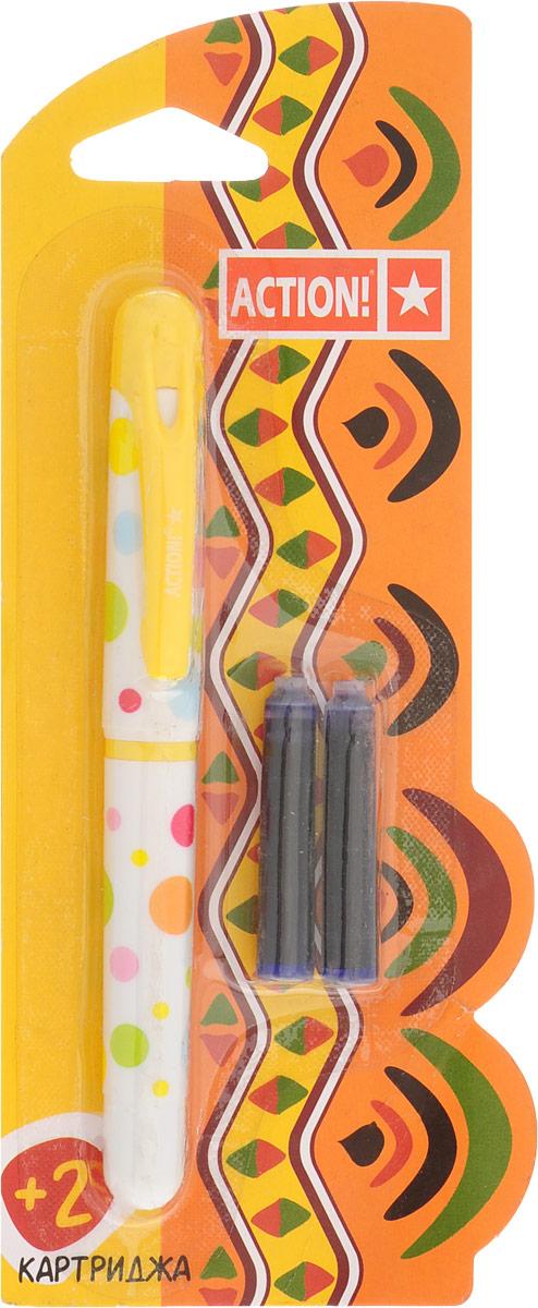 Action! Ручка перьевая с двумя картриджами цвет корпуса желтый AFP1001C13S041944Перьевая ручка, несомненно, заинтересует ребенка, мечтающего о взрослых предметах письма, а также поможет выработать навыки каллиграфии и исправить хромающий почерк.Перьевая ручка Action! с запасными картриджами отличается от взрослых ручек широким пластиковым корпусом, эргономичной зоной гриппа. В комплекте три чернильных картриджа - один в ручке и два запасных в блистерном отсеке.