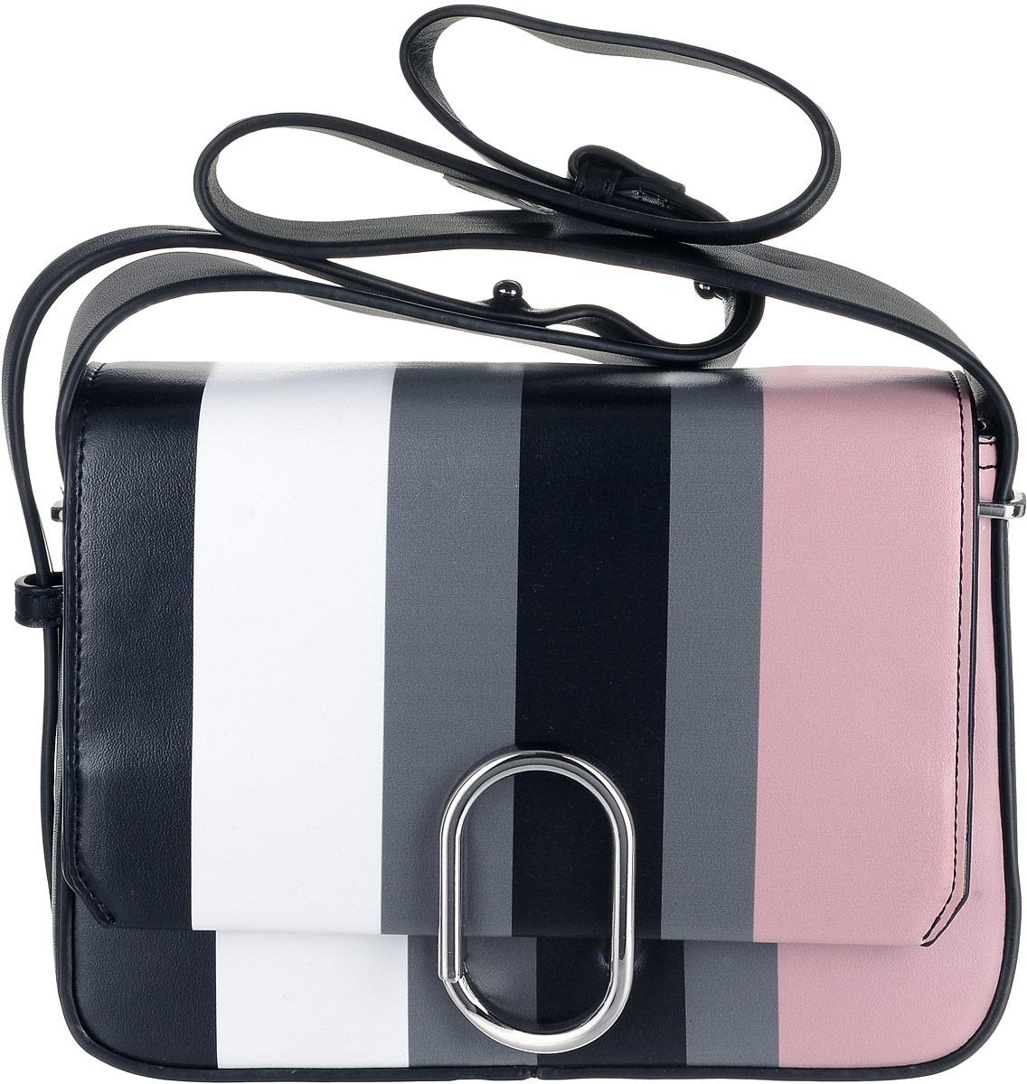 Сумка женская OrsOro, цвет: черный, белый, серый, розовый. D-026/1BM8434-58AEНеобычная женская сумочка из экокожи от OrsOro имеет одно отделение прикрытое клапаном на нестандартном фурнитурном металлическом фиксаторе, внутри отделения находится карман на молнии. Снаружи изделия имеется плоский задний карман на магните. Сумка необычного дизайнерского решения снабжена пришитым наплечным ремнем ассиметричной толщины который регулируется по длине.
