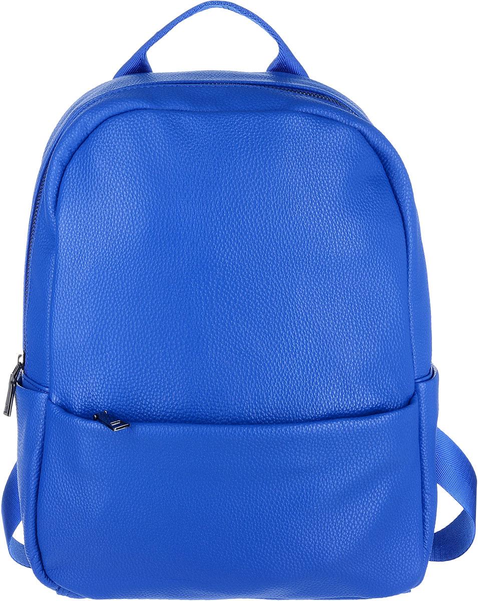 Рюкзак женский OrsOro, цвет: синий. D-265/4INT-06501Яркий рюкзак OrsOro исполнен из экокожи высокого качества. Имеет одно вместительное отделение на молнии. Так же в отделении присутствуют два накладных кармашка под сотовый телефон или для мелочей и один прорезной карман на застежке-молнии. Рюкзак обладает удобной ручкой сверху для переноски и двумя регулируемыми плечевыми ремнями-лямками. Снаружи так же имеются два кармана на молнии: один спереди, другой, вертикальный, сзади. По бокам рюкзака находятся два накладных кармашка.
