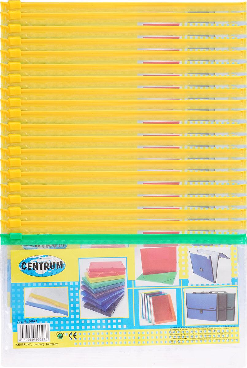 Centrum Папка-конверт на молнии цвет желтый зеленый 20 штAC-1121RDПапка-конверт Centrum - это удобный и практичный офисный инструмент, предназначенный для хранения и транспортировки рабочих бумаг и документов евроформата А5.Папка изготовлена из прозрачного пластика, закрывается на практичную застежку-молнию, имеет опрятный и неброский вид. В комплект входят 20 папок.Папка-конверт - это незаменимый атрибут для студента, школьника, офисного работника. Такая папка надежно сохранит ваши документы и сбережет их от повреждений, пыли и влаги.