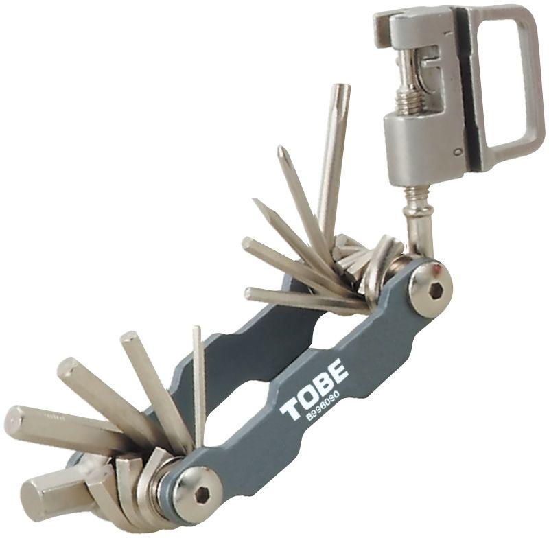 Складной инструмент To Be, 15 в 1. 21202120Складные инструменты B996080 Особенности: 6-гранные торцовые ключи на 2/2,5/3/4/5/6/8 мм; Отвертка (+)/(-);Выжимка цепных заклепок;Т25;Спицевый ключ 0,127/0,136/0,130/0,136.