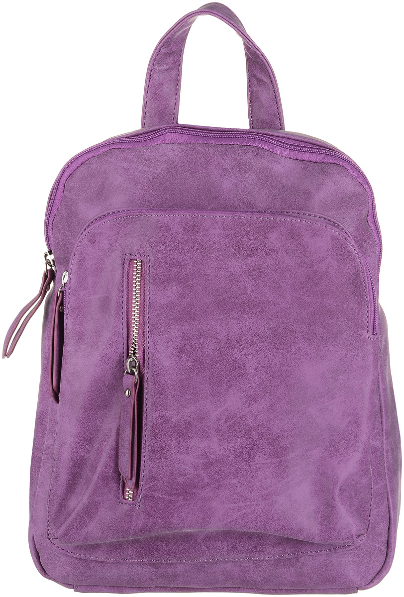 Рюкзак женский OrsOro, цвет: фиолетовый. D-240/723008Рюкзак OrsOro выполнен из мягкой экокожи. Изделие имеет одно вместительное отделение на застежке-молнии. Внутри находятся два маленьких накладных кармашка, большой накладной карман и один прорезной карман на застежке-молнии. С внешней стороны расположены два кармана на молнии. На задней стенке расположен карман на молнии. Рюкзак оснащен удобной ручкой для переноски и двумя регулируемыми плечевыми ремнями-лямками.