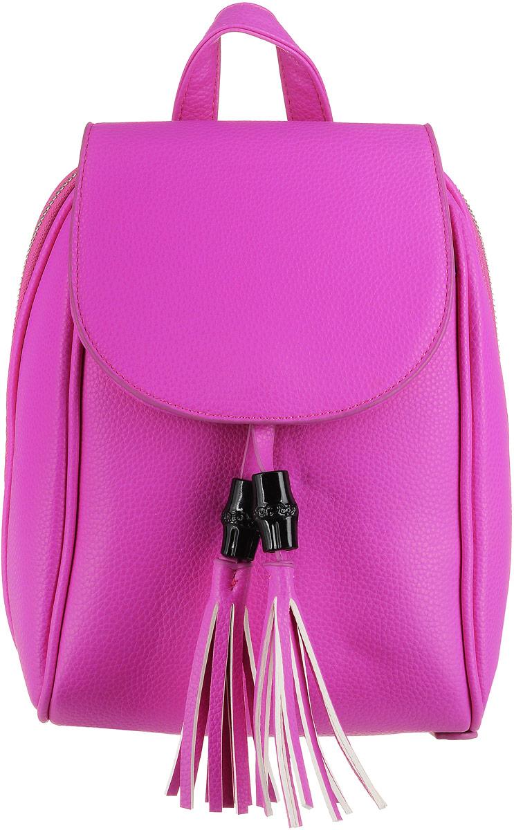 Рюкзак женский OrsOro, цвет: фуксия. D-172/68S76245Компактный, но очень вместительный рюкзачок от OrsOro выполнен из высококачественной экокожи. Рюкзак имеет одно отделение на застежке-молнии, прикрытое клапаном на магнитной кнопке. Внутри отделение разграничено надвое карманом-разделителем на молнии, так же в отделении присутствуют накладной широкий карман и один прорезной карман на застежке-молнии. Снаружи, спереди, имеется плоский карман, который так же прикрыт клапаном, закрывающим основное отделение. Сзади имеется прорезной карман на застежке-молнии. Рюкзак оснащен удобной ручкой для переноски и двумя регулируемыми плечевыми ремнями-лямками.