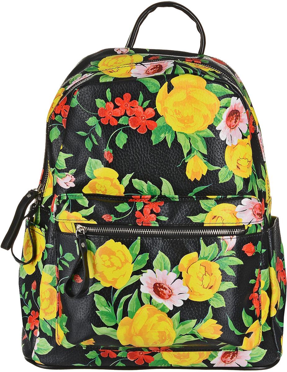 Рюкзак женский OrsOro, цвет: черный, мультицвет. D-139/52S76245Невероятно вместительный рюкзак от OrsOro выполнен из высококачественной прочной экокожи и оформлен модным ярким принтом. Рюкзак имеет одно просторное отделение на застежке-молнии, внутри которого находятся два накладных и один прорезной карман на застежке-молнии. Снаружи находятся еще три кармана: два накладных по бокам и один объемный карман на застежке-молнии спереди. Рюкзак оснащен двумя плечевыми ремнями на спинке и удобной ручкой для переноски.