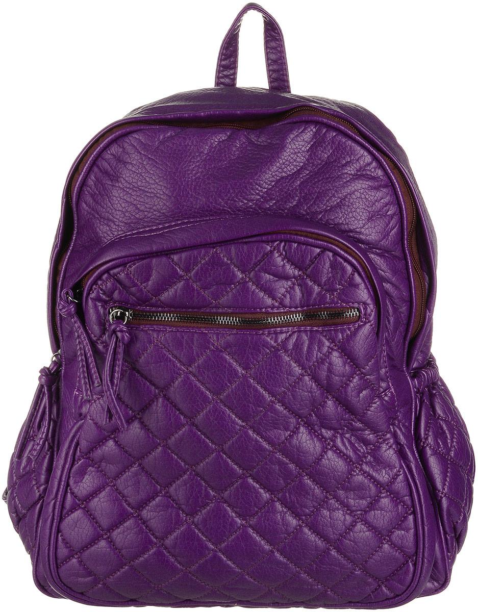 Рюкзак женский OrsOro, цвет: фиолетовый. D-193/532582-1белыеРюкзак OrsOro выполнен из высококачественной искусственной кожи зернистой текстуры. Изделие оснащено двумя ручками для переноски иподвешивания. Также сумка имеет удобные лямки, длину которых можно изменять с помощью пряжек. На лицевой стороне расположен один небольшой объемный карман на молнии и вшитый карман на молнии под клапаном с магнитной кнопкой. На тыльной стороне расположен вшитый карман на молнии. Изделие закрывается с помощью молнии. Внутри расположено главное отделение, которое содержит одиннебольшой карман на молнии и один открытый карман для мелочей.