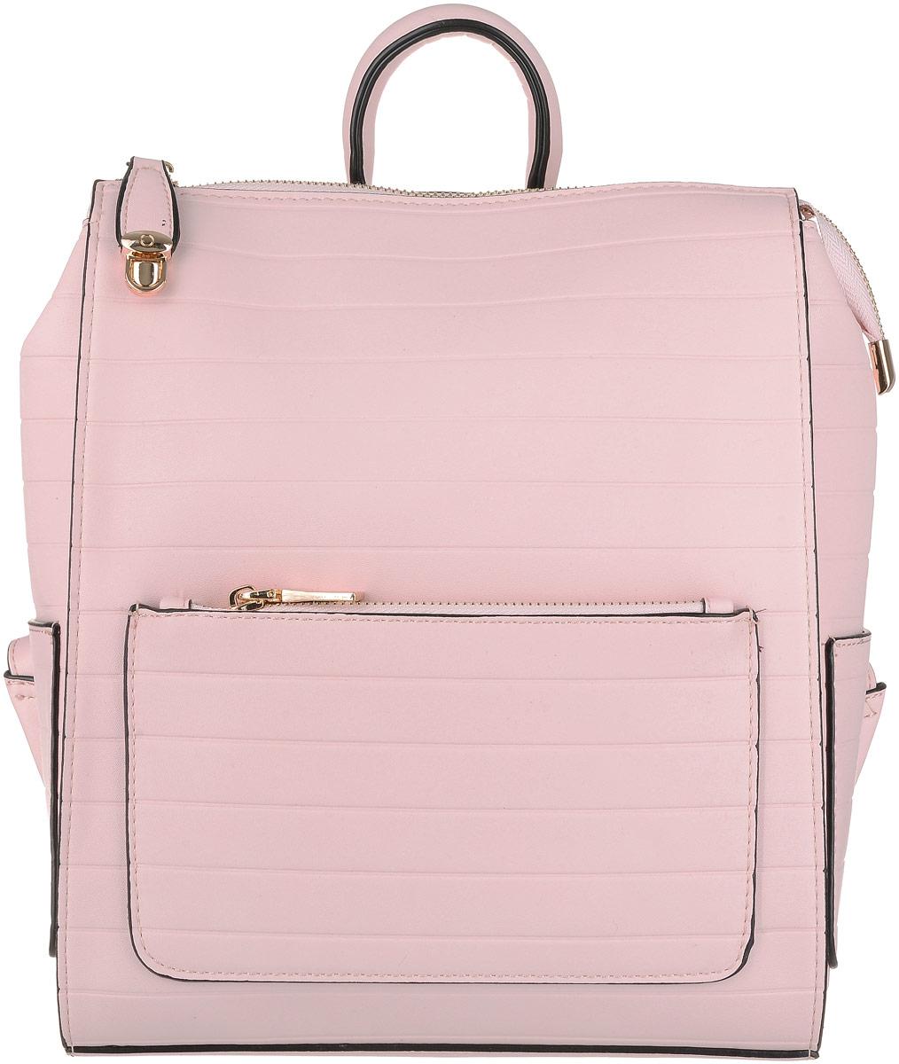 Рюкзак женский OrsOro, цвет: розовый. D-190/81KV996OPY/MВместительный рюкзак с оригинальным тиснением OrsOro исполнен из экокожи. Имеет одно просторное отделение на молнии. В отделении присутствуют два накладных кармашка и один прорезной карман на застежке-молнии. Снаружи имеются передний и задний карманы на застежке-молнии, два накладных плоских кармашка по бокам. Рюкзак оснащен удобной ручкой для переноски и двумя регулируемыми плечевыми ремнями-лямками. Главное отделение внутри стягивается ремешком на карабине.