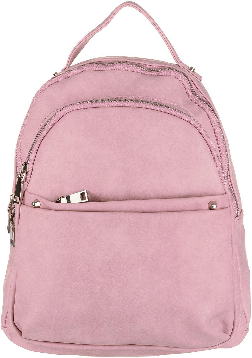Рюкзак женский OrsOro, цвет: розовый. D-183/313-47660-00504Рюкзак OrsOro выполнен из высококачественной искусственной кожи. Изделие оснащено ручкой для подвешивания. Также сумка имеет удобные лямки, длину которых можно изменять с помощью пряжек. На лицевой стороне расположен один объемный карман на молнии и накладной карман на молнии. На тыльной стороне расположен вшитый карман на молнии. Изделие закрывается с помощью молнии. Внутри расположено главное отделение, которое содержит одиннебольшой карман на молнии и два открытых кармана для телефона и мелочей.