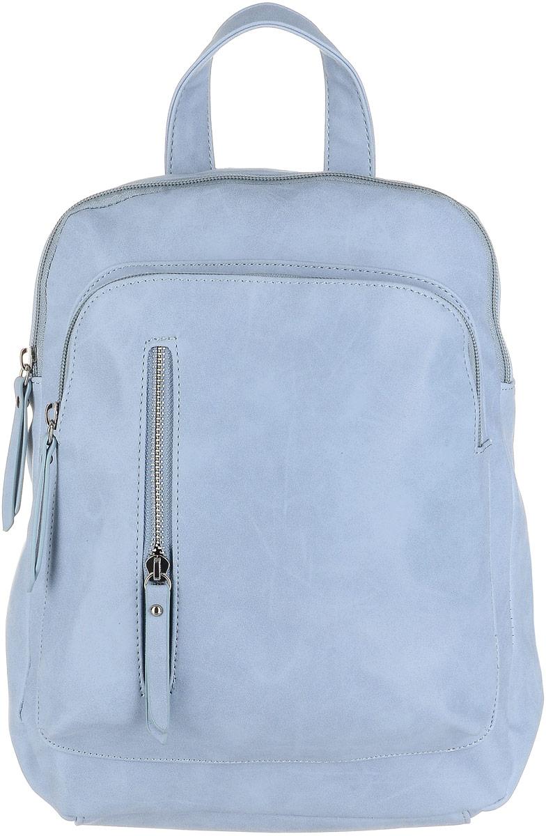 Рюкзак женский OrsOro, цвет: серо-голубой. D-240/8101225Рюкзак OrsOro выполнен из мягкой экокожи. Изделие имеет одно вместительное отделение на застежке-молнии. Внутри находятся два маленьких накладных кармашка, большой накладной карман и один прорезной карман на застежке-молнии. С внешней стороны расположены два кармана на молнии. На задней стенке расположен карман на молнии. Рюкзак оснащен удобной ручкой для переноски и двумя регулируемыми плечевыми ремнями-лямками.