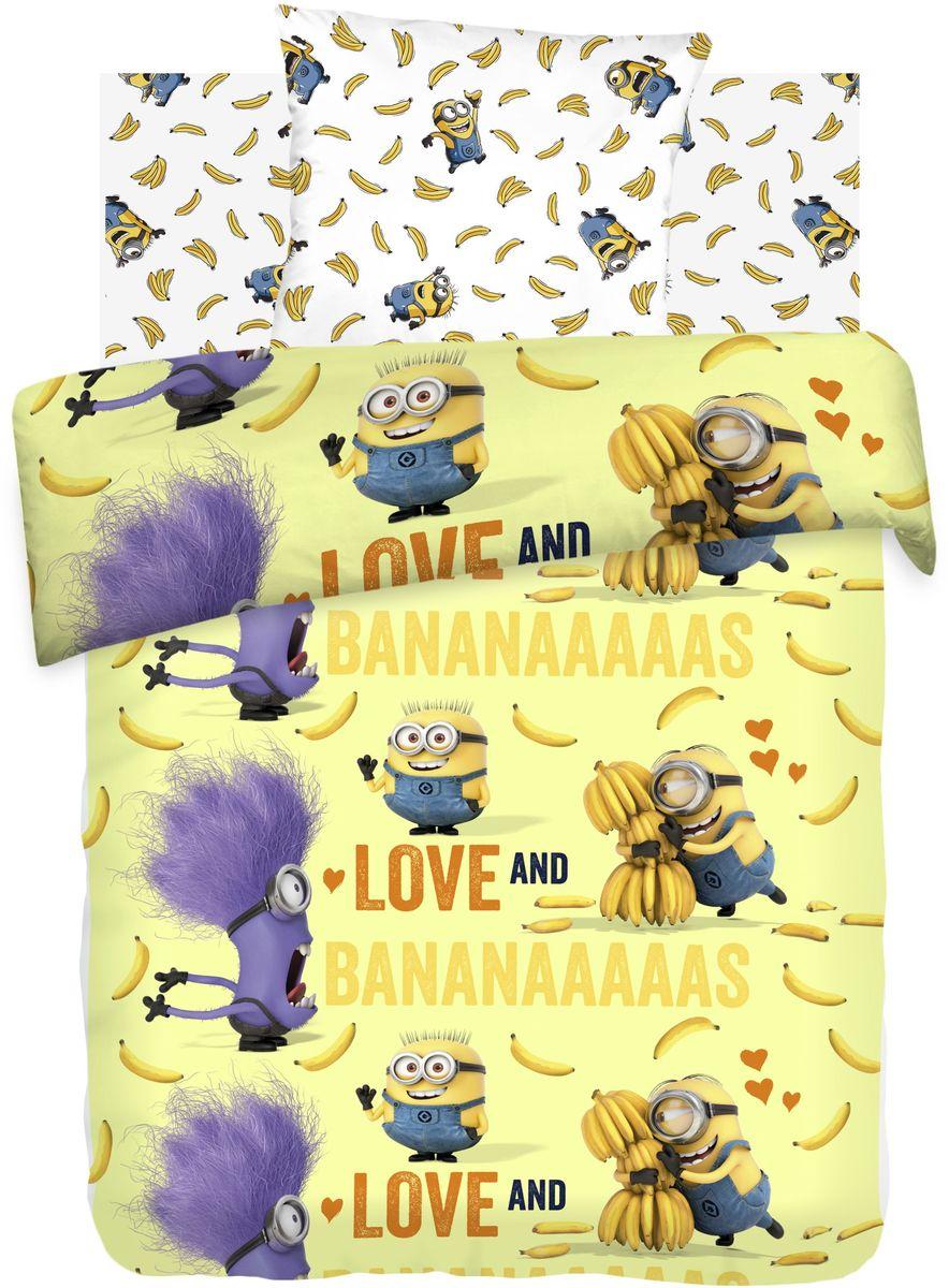 Комплект детского постельного белья Миньоны Бананас, 1,5-спальный, наволочки 70х70385450