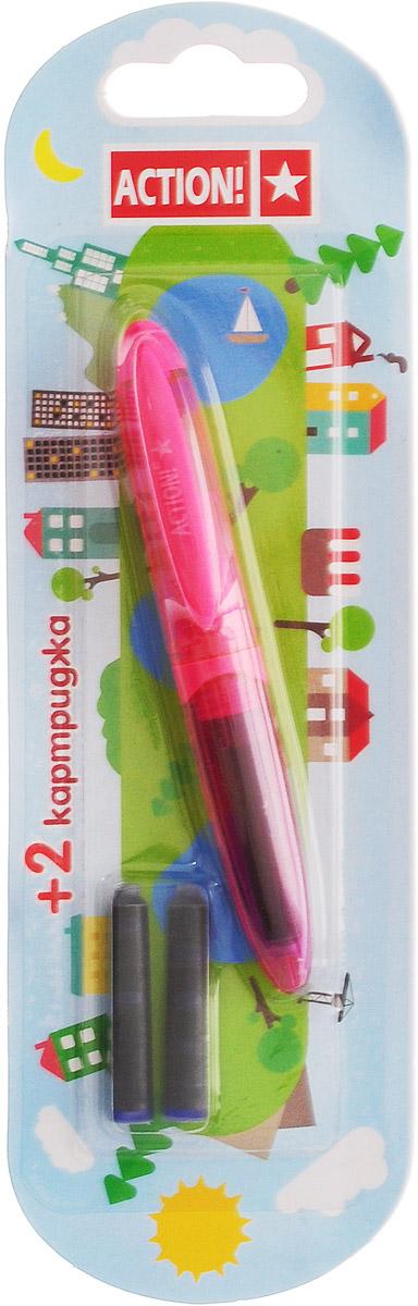 Action! Ручка перьевая с двумя картриджами цвет корпуса розовый AFP103772523WDПерьевая ручка, несомненно, заинтересует ребенка, мечтающего о взрослых предметах письма, а также поможет выработать навыки каллиграфии и исправить хромающий почерк.Перьевая ручка Action! с запасными картриджами отличается от взрослых ручек широким пластиковым корпусом, эргономичной зоной гриппа. В комплекте три чернильных картриджа - один в ручке и два запасных в блистерном отсеке.