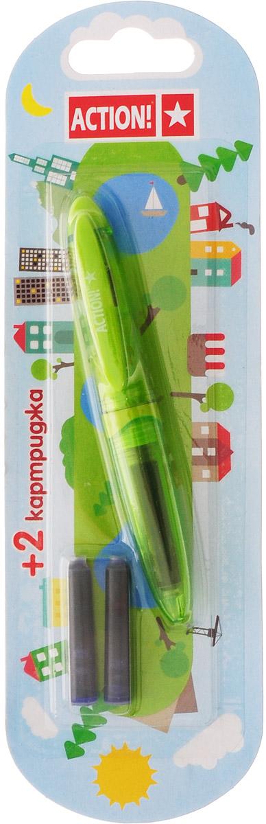 Action! Ручка перьевая с двумя картриджами цвет корпуса зеленый AFP1037789576Перьевая ручка, несомненно, заинтересует ребенка, мечтающего о взрослых предметах письма, а также поможет выработать навыки каллиграфии и исправить хромающий почерк.Перьевая ручка Action! с запасными картриджами отличается от взрослых ручек широким пластиковым корпусом, эргономичной зоной гриппа. В комплекте три чернильных картриджа - один в ручке и два запасных в блистерном отсеке.
