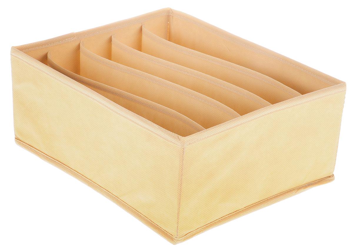 Органайзер Все на местах Minimalistic, цвет: бежевый, 5 ячеек, 32 х 24 х 11 см74-0060Органайзер поможет упорядочить размещение небольших вещей. Изделие выполнено из высококачественного нетканого материала, который обеспечивает естественную вентиляцию, позволяя воздуху проникать внутрь, но не пропускает пыль. Вставки из ПВХ хорошо держат форму. Изделие содержит 5 секций. Органайзер легко раскладывается и складывается. Оригинальный дизайн придется по вкусу ценителям эстетичного хранения. Размер органайзера в разложенном виде: 32 х 24 х 11 см.