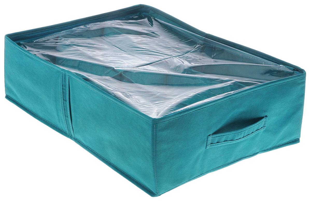 Органайзер для обуви Все на местах Minimalistic, цвет: бирюзовый, 6 отделений, 53 х 40 х 15 смU210DFКомпактный складной органайзер изготовлен из высококачественного нетканого материала, который обеспечивает естественную вентиляцию. Материал позволяет воздуху свободно проникать внутрь, но не пропускает пыль. Органайзер отлично держит форму, благодаря вставкам из ПВХ. Изделие имеет 6 секций для хранения обуви.Такой органайзер позволит вам хранить обувь компактно и удобно. Размер секции: 26,5 х 20 см.