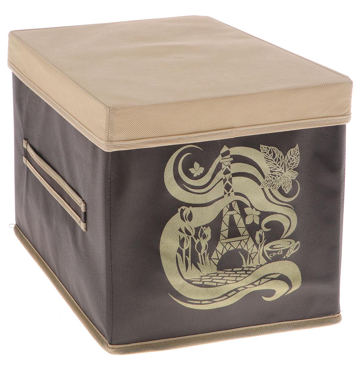 Коробка для вещей Все на местах Париж, с крышкой, цвет: темно-коричневый, бежевый, 25 х 25 х 25 см74-0120Коробка с крышкой Все на местах выполнена из высококачественного нетканого материала, который обеспечивает естественную вентиляцию и предназначен для хранения вещей или игрушек. Он защитит вещи от повреждений, пыли, влаги и загрязнений во время хранения и транспортировки. Размер коробки: 25 х 25 х 25 см.