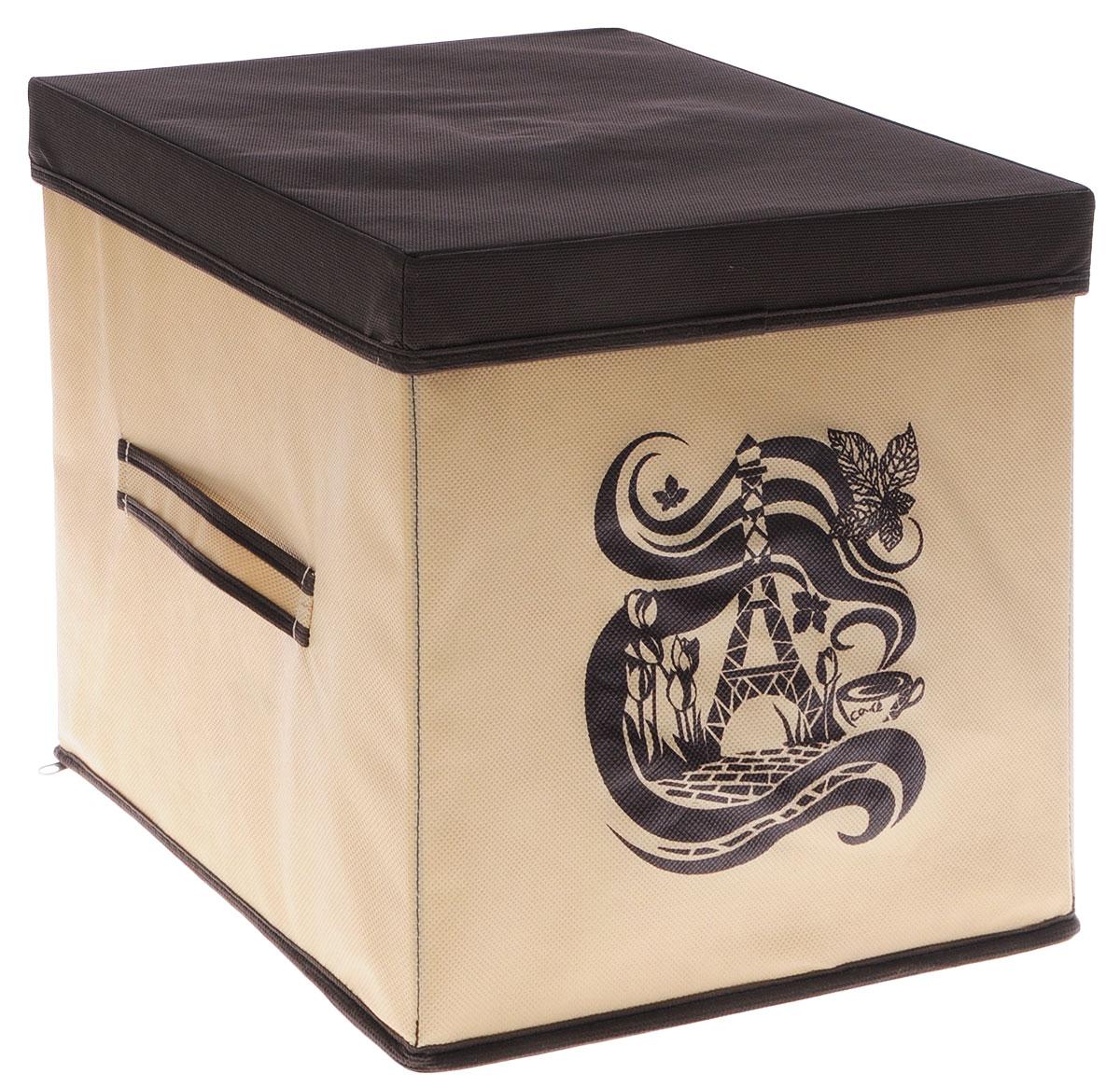 Коробка для вещей и игрушек Все на местах Париж, с крышкой, цвет: коричневый, бежевый, 30 х 30 х 30 см04752-X51-00Коробка с крышкой Все на местах выполнена из высококачественного нетканого материала, который обеспечивает естественную вентиляцию и предназначен для хранения вещей или игрушек. Он защитит вещи от повреждений, пыли, влаги и загрязнений во время хранения и транспортировки. Размер коробки: 30 х 30 х 30 см.