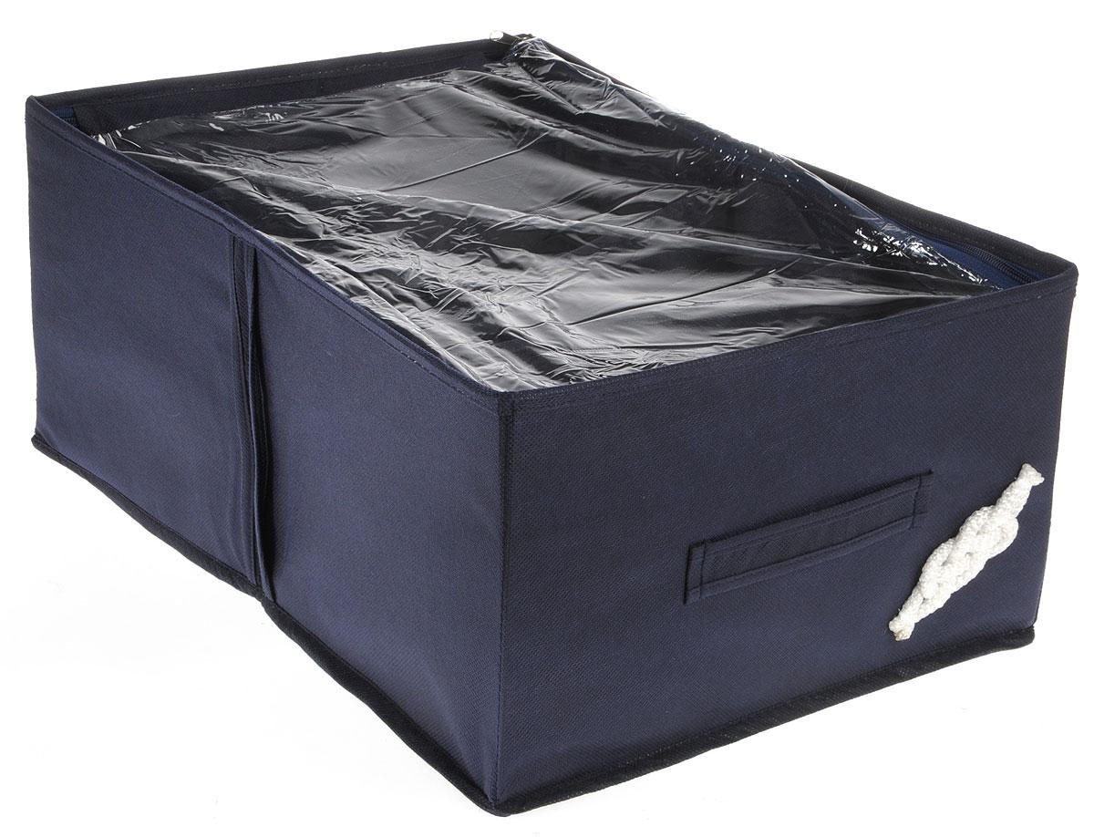 Кофр для обуви Все на местах Классика, цвет: темно-синий, 4 секции, 34 x 48 x 20 смБрелок для ключейКомпактный складной органайзер с прозрачной крышкойиз высококачественного нетканого материала, который обеспечивает естественную вентиляцию. Материал позволяет воздуху свободно проникать внутрь, но не пропускает пыль. Органайзер отлично держит форму, благодаря вставкам из ПВХ. Изделие имеет 4 секции для хранения обуви.Такой органайзер позволит вам хранить обувь компактно и удобно. Размер секции: 17 х 24 см.