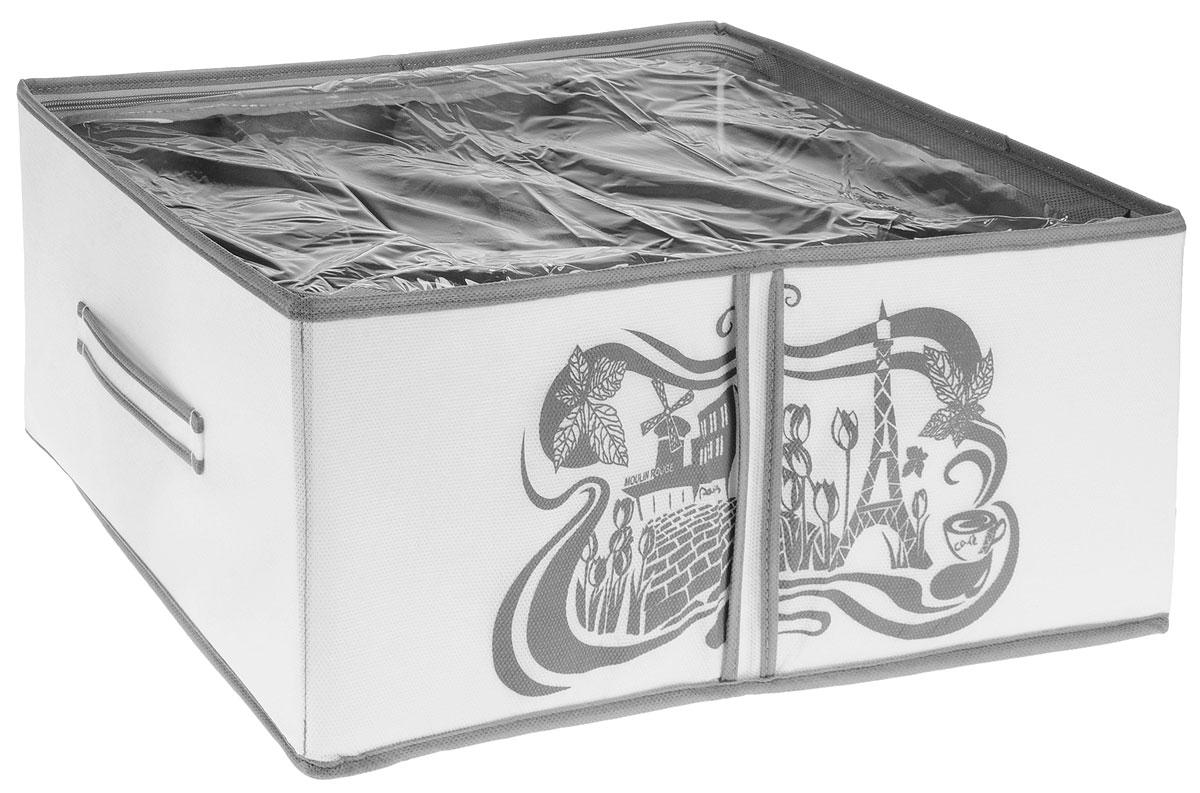 Кофр для хранения обуви Все на местах Париж, цвет: серый, белый, 4 секции, 34 х 48 х 20 см1004900000360Компактный складной органайзер с прозрачной крышкойиз высококачественного нетканого материала, которыйобеспечивает естественную вентиляцию. Материалпозволяет воздуху свободно проникать внутрь, но непропускает пыль. Органайзер отлично держит форму,благодаря вставкам из ПВХ. Изделие имеет 4 секции для хранения обуви. Такой органайзер позволит вам хранить обувь компактно и удобно. Размер секции: 17 х 22 см.