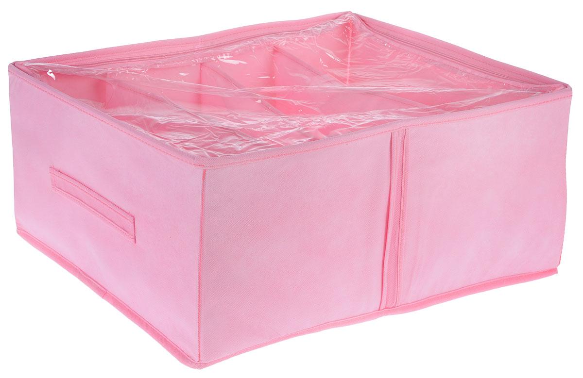 Кофр для обуви Все на местах Minimalistic, цвет: розовый, 4 секции, 34 x 48 x 20 см93976Компактный складной органайзер с прозрачной крышкойиз высококачественного нетканого материала, который обеспечивает естественную вентиляцию. Материал позволяет воздуху свободно проникать внутрь, но не пропускает пыль. Органайзер отлично держит форму, благодаря вставкам из ПВХ. Изделие имеет 4 секции для хранения обуви.Такой органайзер позволит вам хранить обувь компактно и удобно. Размер секции: 17 х 24 см.