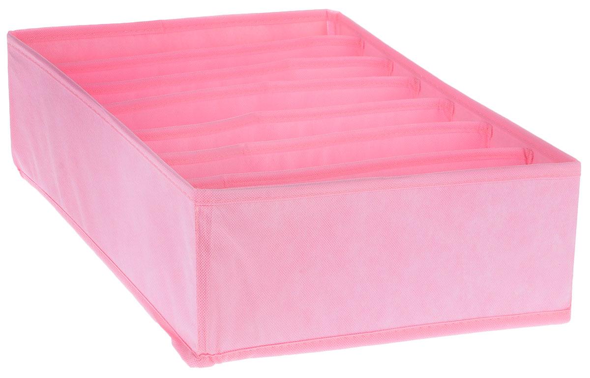 Органайзер Все на местах Minimalistic, цвет: розовый, 7 ячеек, 32 х 32 х 11 см1011046Органайзер поможет упорядочить размещение небольших вещей. Изделие выполнено из высококачественного нетканого материала, который обеспечивает естественную вентиляцию, позволяя воздуху проникать внутрь, но не пропускает пыль. Вставки из ПВХ хорошо держат форму. Изделие содержит 7 секций. Органайзер легко раскладывается и складывается. Оригинальный дизайн придется по вкусу ценителям эстетичного хранения. Размер органайзера в разложенном виде: 32 х 32 х 11 см.