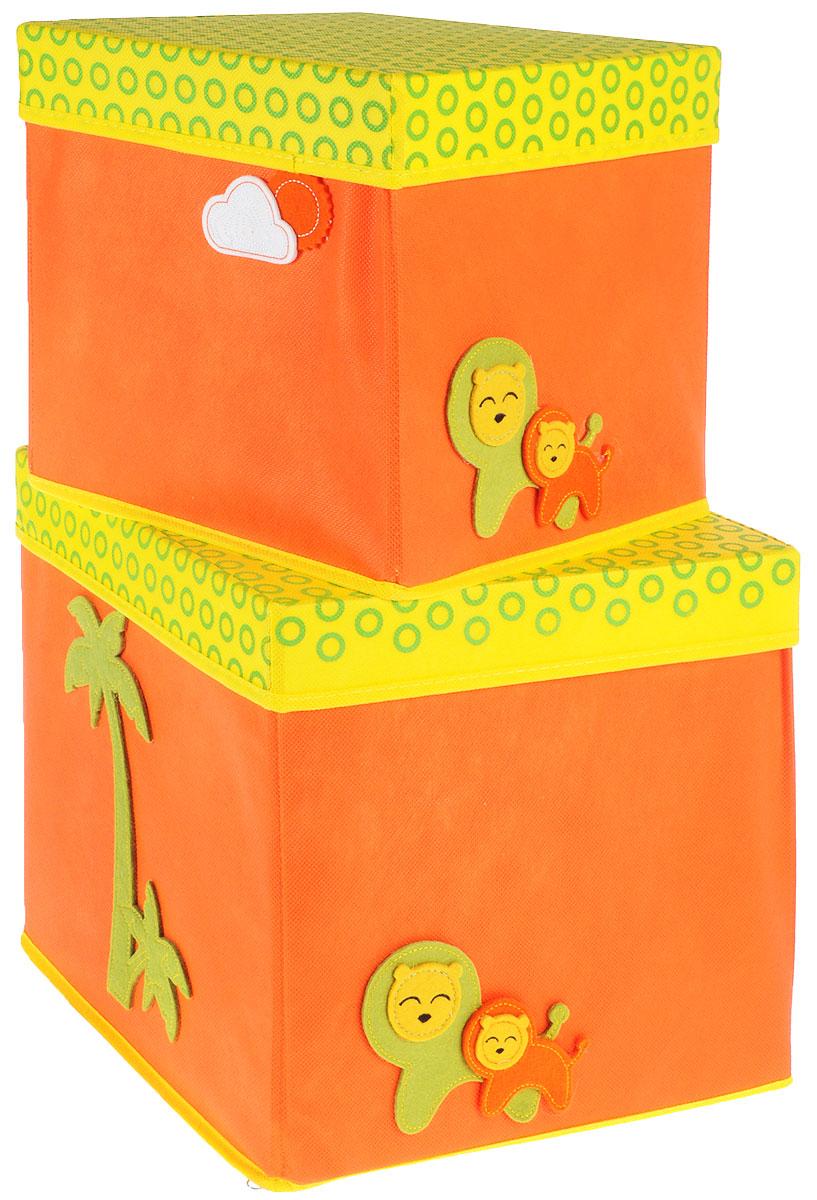 Набор коробок Все на местах, с крышками, цвет: желтый, оранжевый, 2 предмета. 10710311071031Набор состоит из двух коробок с крышками для хранения игрушек или вещей.Изделия выполнены из высококачественного нетканого материала (спанбонда), который обеспечивает естественную вентиляцию, позволяя воздуху проникать внутрь, но не пропускаетпыль. Вставки из ПВХ хорошо держат форму.Набор коробок поможет удобно хранить вещи и игрушки. Размер коробок: 30 см х 30 см х 30 см; 25 см х 25 см х 25 см.