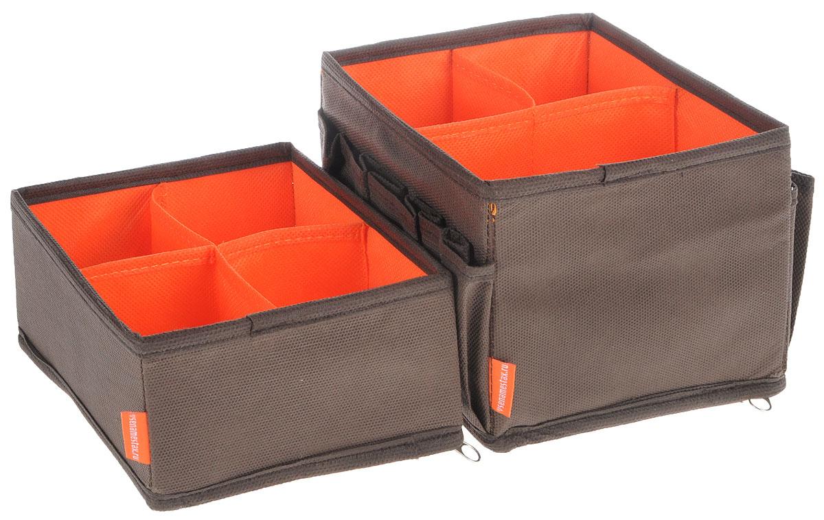 Набор органайзеров для косметики Все на местах Классика, цвет: коричневый, оранжевый, 2 предмета1002004Набор состоит из двух органайзеров для хранения косметики и аксессуаров.Изделия выполнены из высококачественного нетканого материала (спанбонда),которыйобеспечивает естественную вентиляцию, позволяя воздуху проникать внутрь, ноне пропускаетпыль. Вставки из ПВХ хорошо держат форму. Мягкие перегородки образуютсекции для хранения разнообразной косметики. Наружные кармашки позволяютудобно хранитьмелкие аксессуары. Изделия отличаются мобильностью: легко раскладываются искладываются.Набор органайзеров для косметики и аксессуаров поможет привести элементыженского туалета в порядок. Оригинальный дизайн придется по вкусу ценительницам эстетичного хранения.Размер органайзеров: 15 см х 15 см х 12 см; 15 см х 15 см х 7 см.