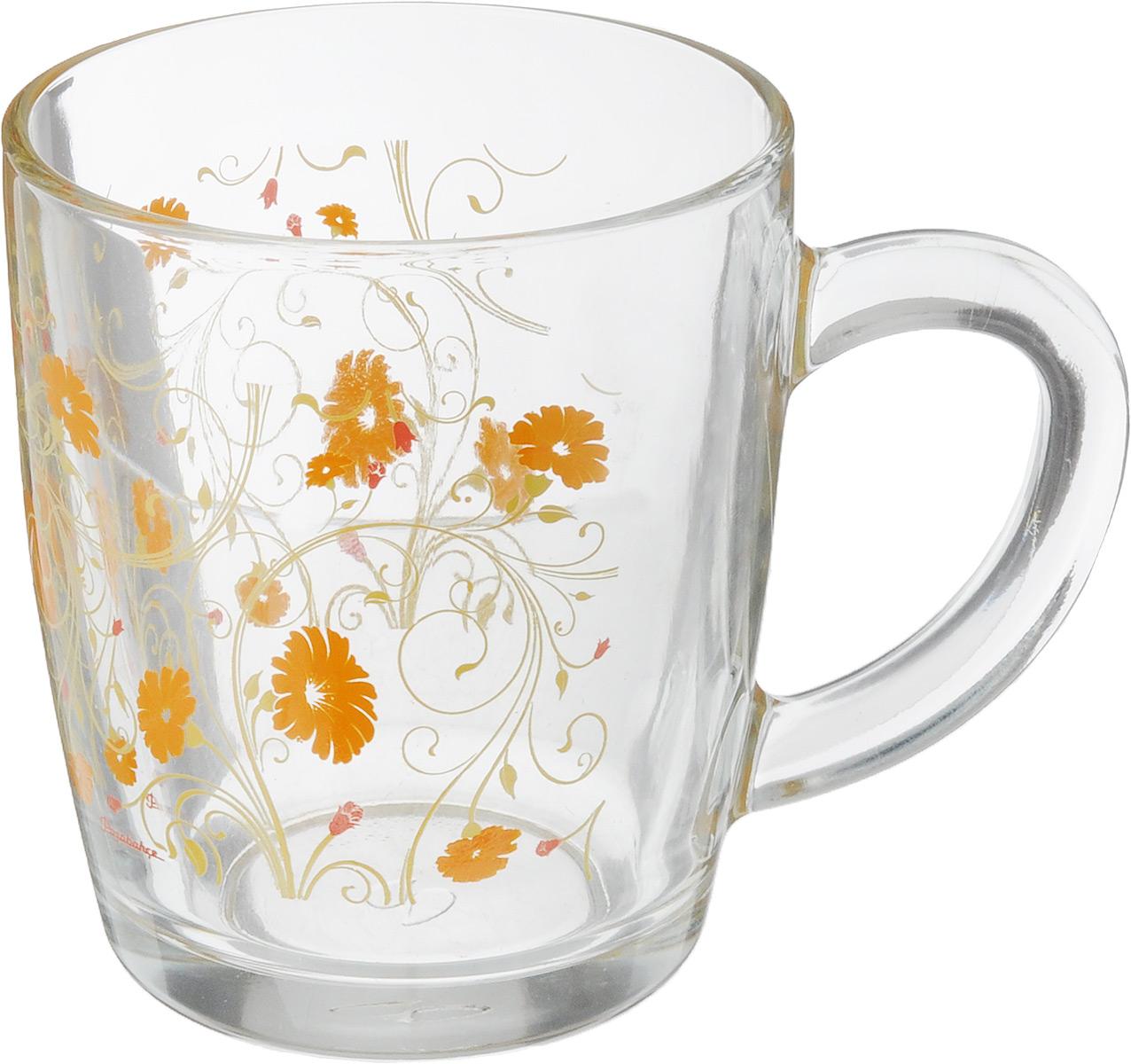 Кружка Pasabahce Serenade, цвет: прозрачный, оранжевый, 340 мл54 009312Кружка Pasabahce Serenadeизготовлена из прозрачного стекла и украшена красивым рисунком. Изделие идеально подходит для сервировки стола.Кружка не только украсит ваш кухонный стол, но и подчеркнет прекрасный вкус хозяйки. Диаметр кружки (по верхнему краю): 8 см. Высота кружки: 9,5 см. Объем кружки: 340 мл.