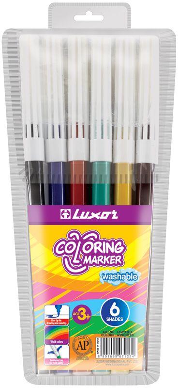 Яркий и практичный набор фломастеров Luxor Coloringс продуманной палитрой цветов, непременно понравится вашему юному художнику. Нетоксичные смываемые фломастеры имеют вентилируемый колпачок. Корпус из пластика предохраняет чернила от преждевременного высыхания, гарантирует длительный срок службы.Набор содержит 6 фломастеров различных цветов.  Уважаемые клиенты!Обращаем ваше внимание на возможные изменения в дизайне упаковки. Качественные характеристики товара остаются неизменными. Поставка осуществляется в зависимости от наличия на складе.