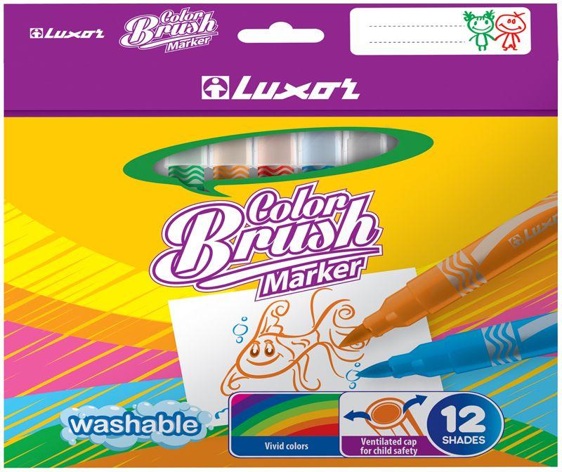 Luxor Набор фломастеров Color Brush 12 цветов325WP24Яркий и практичный набор фломастеров Luxor Color Brushс продуманной палитрой цветов, непременно понравится вашему юному художнику. Фломастеры с кистевым наконечником позволяют рисовать линии различной толщины. Корпус из пластика предохраняет чернила от преждевременного высыхания, гарантирует длительный срок службы.Набор содержит 12 фломастеров ярких насыщенных цветов.Уважаемые клиенты!Обращаем ваше внимание на возможные изменения в дизайне упаковки. Качественные характеристики товара остаются неизменными. Поставка осуществляется в зависимости от наличия на складе.