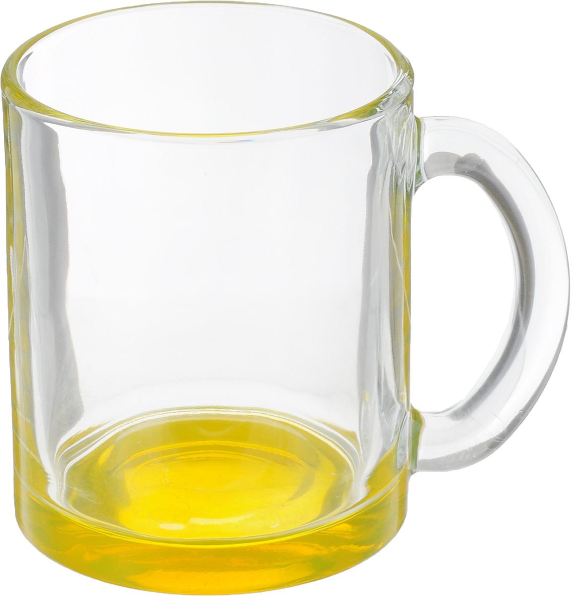 Кружка OSZ Чайная, цвет: прозрачный, желтый, 320 мл391602Кружка OSZ Чайная изготовлена из стекла двух цветов. Изделие идеально подходит для сервировки стола.Кружка не только украсит ваш кухонный стол, но и подчеркнет прекрасный вкус хозяйки. Диаметр кружки (по верхнему краю): 8 см. Высота кружки: 9,5 см. Объем кружки: 320 мл.