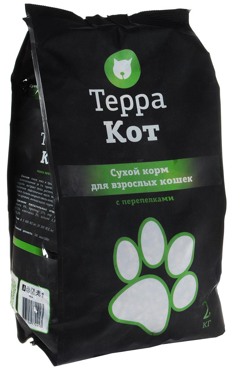 Сухой корм Терра Кот для взрослых кошек, с перепелками, 2 кг6288Сухой корм Терра Кот - это полноценное сбалансированное питание для взрослых кошек, разработанное с использованием современных технологий.Сухой корм Терра Кот обеспечивает: крепкие кости и зубы; энергетический баланс; поддержку иммунитета; питание сердца; здоровую шерсть и кожу; витамины; отличное зрение; развитую мускулатуру; защиту ЖКТ. Характеристики:Состав: злаки, мясо и продукты животного происхождения (в т.ч. перепела), пшеничные отруби, экстракт белка растительного происхождения, подсолнечное масло, минеральные добавки, пульпа сахарной свеклы (жом), витамины, пивные дрожжи, антиоксидант, таурин. Содержание питательных веществ: влажность 9%, протеин 27%, жир 10%, зола 7,5%, клетчатка 3%, кальций 1,3%, фосфор 1,2%. Витаминов: А 5000 МЕ/кг, D3 500 МЕ/кг, Е 30 МЕ/кг. Энергетическая ценность: 345 ккал/100 г. Вес: 2 кг. Артикул: 00-00000405.