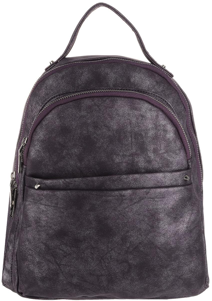 Рюкзак женский OrsOro, цвет: фиолетовый. D-183/53S76245Рюкзак OrsOro выполнен из высококачественной искусственной кожи. Изделие оснащено ручкой для подвешивания. Также сумка имеет удобные лямки, длину которых можно изменять с помощью пряжек. На лицевой стороне расположен один объемный карман на молнии и накладной карман на молнии. На тыльной стороне расположен вшитый карман на молнии. Изделие закрывается с помощью молнии. Внутри расположено главное отделение, которое содержит одиннебольшой карман на молнии и два открытых кармана для телефона и мелочей.