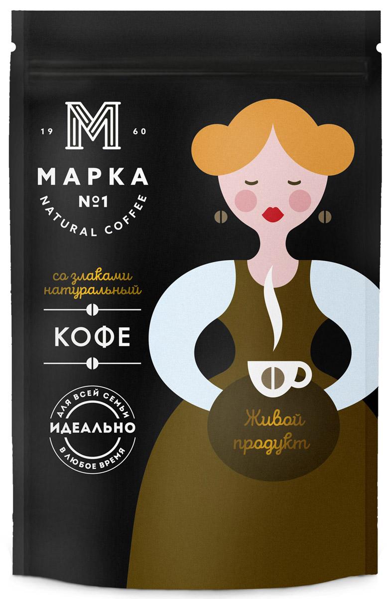 Марка №1 Кофе растворимый со злаками, 75 г0120710Фасованный кофейный напиток Марка №1 с добавлением растворимого кофе, представляет собой высушенный экстракт жареного ячменя, с добавлением высушенного экстракта натурального жареного кофе.