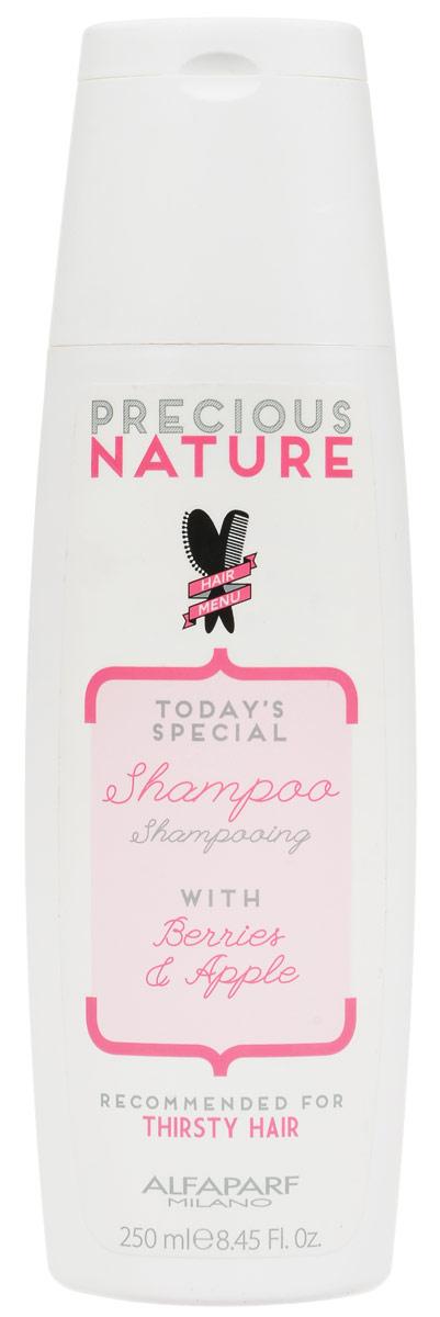 Alfaparf Precious Nature Shampoo Dry and Thirsty Hair Шампунь для сухих волос испытывающих жажду, 250 мл110606015Мягкий шампунь интенсивно питает и возвращает волосам утраченную жизненную силу и сияние, не утяжеляет. Входящий в состав экстракт ягод* позволяет защитить волосы от негативного влияния окружающей среды, а экстракт яблока* сохраняет оптимальный гидролипидный баланс, делая волосы гладкимии и блестящими. *100% натуральный ингредиент. НЕ СОДЕРЖИТ сульфатов, парабенов, парафинов, минеральных масел, синтетических веществ, аллергенов*гипоаллергенные экстракты растений и ароматизаторыОбъем: 250 мл