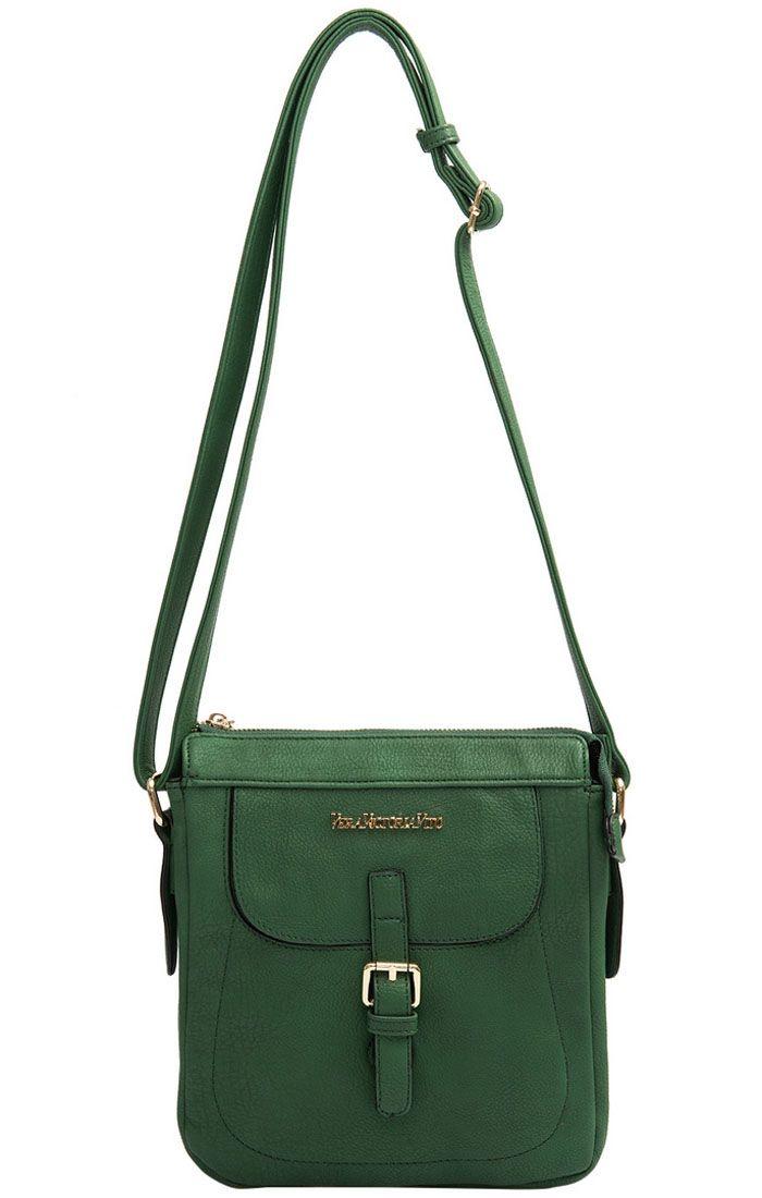 Сумка женская Vera Victoria Vito, цвет: зеленый. 32-3809-0571069с-2Чудесная сумочка от Vera Victoria Vito отличается эстетичным дизайном. Это компактная удобная модель для частой носки. Она изготовлена из роскошной эко-кожи с четко выраженным рисунком. Благодаря зеленому цвету и позолоченной фурнитуре аксессуар выглядит потрясающе эффектно и благородно. Экокожа гарантирует ее замечательную носкость и прочность. Подкладка сшита из текстиля. Модель закрывается на молнию, имеет два отделения с карманом, два кармана с внешней стороны (один с клапаном на магните и пряжкой, один на молнии с обратной стороны). Сумка оснащена удобным длинным ремнем.