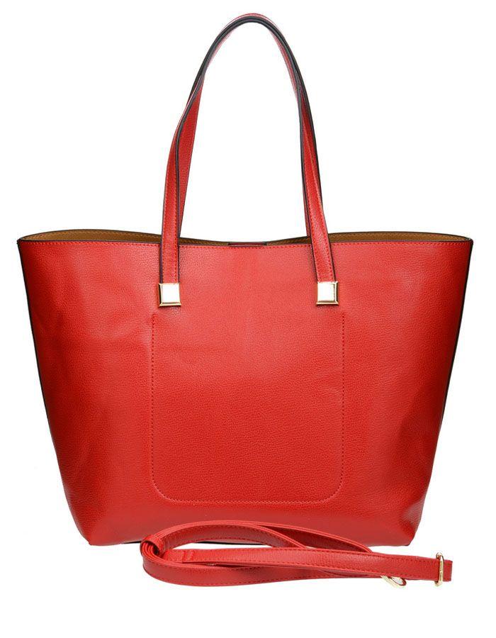 Сумка женская Vera Victoria Vito, цвет: красный. 32-523-3101225Тренд сезона - две сумки в одной для практичных женщин, которые любят всегда все брать с собой. Большая сумка довольно вместительная, и вместе с тем простая, в нее вы можете сложить крупные предметы. Она выполнена полностью из экокожи. Модель застегивается на магнитную кнопку, внутри два кармана, один из которых на молнии. Внутри прямоугольная сумочка на молнии (35 см х 23см) для более мелких вещей, выполнена из экокожи, внутри подкладка из текстиля, имеет карман на молнии и кармашки для мелочей. Дополнительно плечевой ремень на карабине.