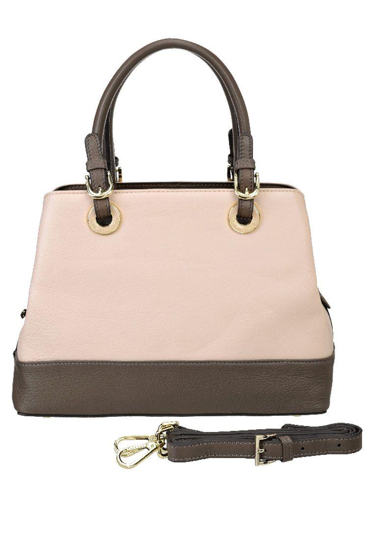 Сумка женская Vera Victoria Vito, цвет: розовый. 33-701-9L39845800Симпатичная сумочка от Vera Victoria Vito выполнена из качественной натуральной кожи, будет уместна в любой ситуации. Ручки на ремешках и золотистых кольцах делает эту сумку по-настоящему стильным аксессуаром. Закрывается на молнию, по бокам два отдела на кнопках. С обратной стороны карман на молнии. Внутри сумка имеет одно отделение, кармашки для мелочей и небольшой карман на молнии для паспорта. Регулируемый ремень можно дополнительно подсоединять и использовать для носки через плечо.