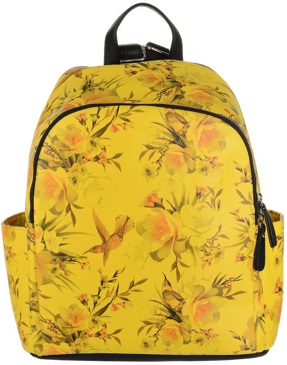 Рюкзак женский OrsOro, цвет: черный, желтый, мультиколор. D-242/5S76245Необычный рюкзак от OrsOro имеет два отделения на застежке-молнии, два наружных накладных боковых кармашка и прорезной карман сзади на застежке-молнии. Рюкзак изготовлен из прочной экокожи и оформлен принтом с экзотической фауной. Внутри вместительного заднего отделения находятся два кармашка для мелочей или под сотовый телефон и один прорезной карман на застежке-молнии. Переднее, более плоское отделение рюкзака, может быть использовано под планшет. Рюкзак обладает удобной ручкой сверху для переноски и двумя регулируемыми плечевыми ремнями-лямками.