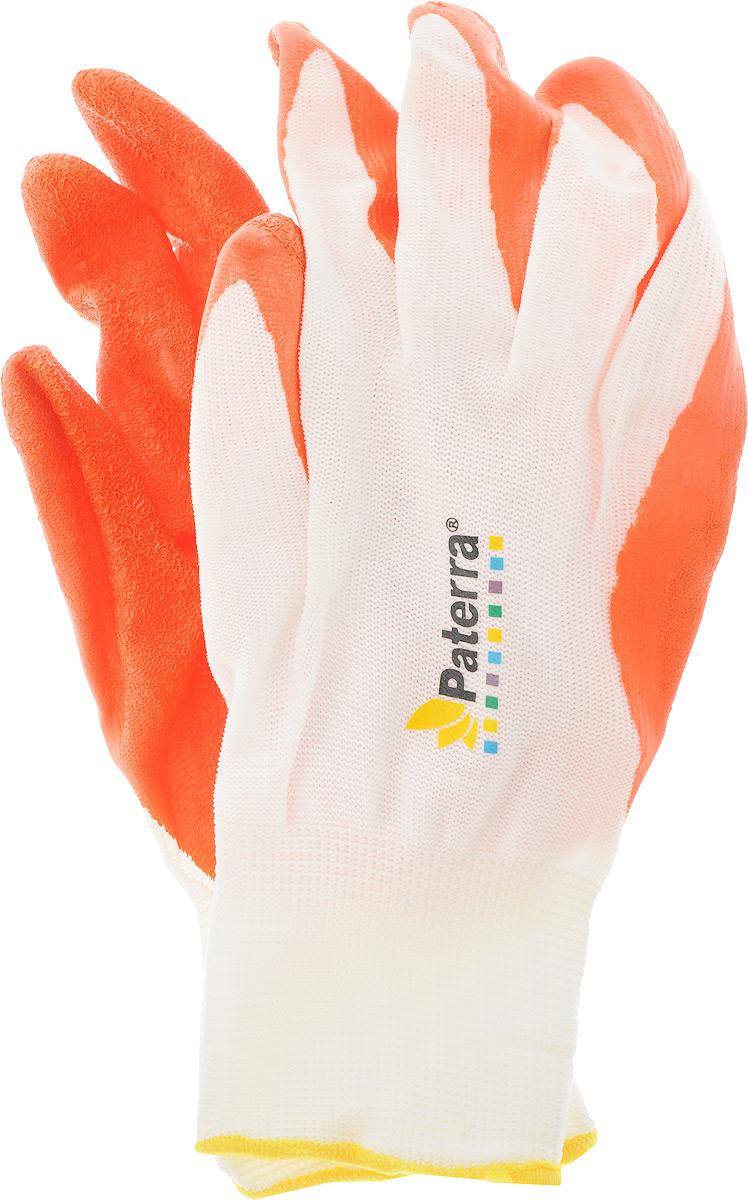 Перчатки садовые Paterra, цвет: белый, оранжевый. Размер LМ520_малиновыйПерчатки садовые Paterra предназначены для защиты рук от загрязнений в процессе садовых, ремонтных, автомобильных работ. Основа перчатки - нейлоновый трикотаж плотной вязки. На ладонную часть перчатку нанесен латексный слой, препятствующий скольжению руки. Качественная плотная манжета надежно фиксирует перчатку на запястье.Перчатки легко стирать, так как грязь из трикотажа вымывается, а латексный слой не истончается.