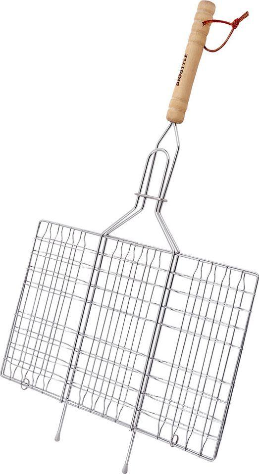 Решетка-гриль Biostyle Походная, 33 х 21,5 см391602Решетка-гриль Biostyle Походная предназначена для приготовления мяса, шашлыков, окороков, колбасок, сосисок, рыбы, овощей и прочих продуктов на открытой шашлычнице, в камине, на костре. Решетка изготовлена из высококачественной стали с хромированным покрытием, что облегчает процесс мытья решетки. Деревянная ручка облегчает эксплуатацию изделия и исключает возможность получения ожога. В производстве используются только экологически чистые материалы. Приготовления продуктов с помощью решетки не требует использования жиров и масел, поэтому в продуктах сохраняются все полезные компоненты и не образуются вредные для организма вещества.Размер рабочей поверхности решетки (без учета ручки): 33 х 21,5 см.Толщина проволоки: 1,3 мм.