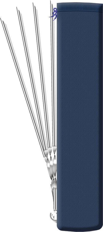 Набор угловых шампуров Biostyle, в чехле, длина 45 см, 6 шт391602Набор шампуров Biostyle, выполненный из высококачественной нержавеющей стали, состоит из 6 угловых шампуров, предназначенных для приготовления куриных окорочков и ребрышек, а также кусков мяса и овощей. Удобная витая ручка не позволяет шампурам проворачиваться в пазах мангала, что облегчает процесс жарки. Заостренные окончания шампуров позволяют насаживать ломтики легко и аккуратно. Изделия упакованы в сумку-чехол, поэтому их удобно хранить и перевозить.Функциональный и качественный набор шампуров поможет вам в приготовлении вкусного шашлыка на открытом воздухе. Рекомендуемая нагрузка для одного шампура - не более 400 гр.Ширина: 1 см. Толщина: 1 мм. Длина: 45 см.