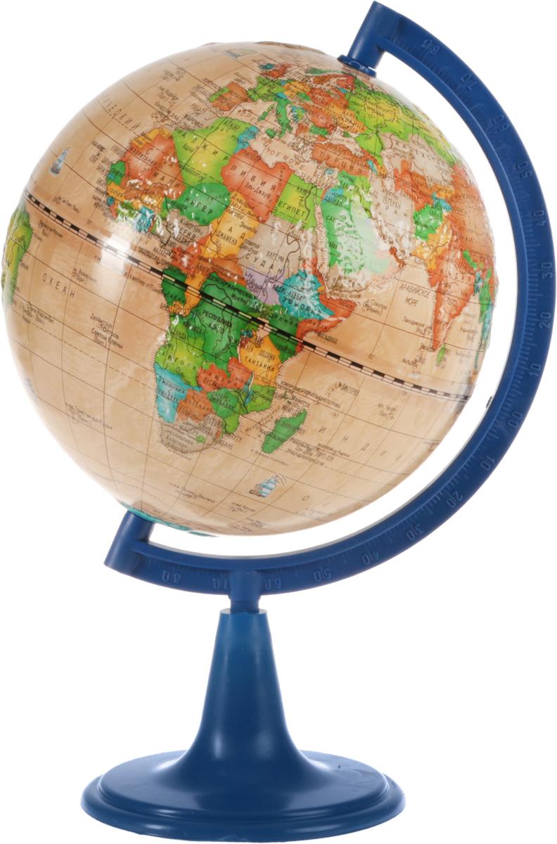 Глобусный мир Глобус политический рельефный Ретро-Александр диаметр 15 смFS-00897Глобус Ретро-Александр с политической картой мира, изготовленный из высококачественного прочного пластика, показывает страны мира, границы того или иного государства, расположение столиц государств, городов и населенных пунктов.Изделие расположено на синий пластиковой подставке. На глобусе отображены картографические линии: параллели и меридианы, а также градусы и условные обозначения. Все страны мира раскрашены в разные цвета. Модель имеет рельефную выпуклую поверхность, что, в свою очередь, делает глобус особенно интересным для детей младшего школьного возраста. Названия стран на глобусе приведены на русском языке. Глобус с политической картой мира станет незаменимым атрибутом обучения не только школьника, но и студента.Настольный глобус Ретро-Александр станет оригинальным украшением рабочего стола.Масштаб: 1:84 000 000.