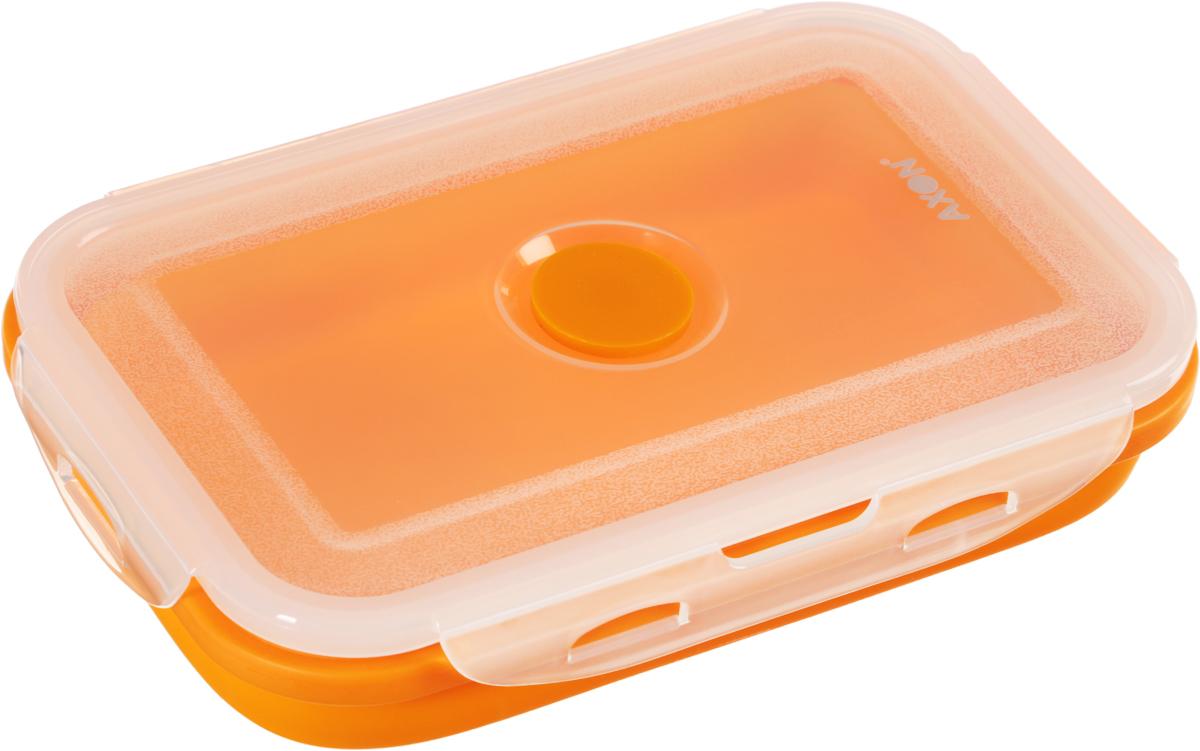 Контейнер для еды складной Axon, цвет: оранжевый, прозрачный, 19 х 12,5 х 7 смVT-1520(SR)Складной силиконовый контейнер Axon для еды станет вашим надежным помощником на кухне. Контейнер абсолютно герметичен. Пластиковая крышка оснащена четырьмя специальными защелками и выпускным клапаном. Силикон не впитывает запахи.Используйте контейнер для хранения и транспортировки любых пищевых продуктов: салатов, овощей, фруктов, соусов, мясных и рыбных блюд. Контейнер позволяет разогревать продукты в микроволновке, но без крышки, и замораживать в морозилке. После использования контейнер можно просто сложить, он становится в два раза меньше по высоте.Можно мыть в посудомоечной машине.Размер в разложенном виде (с учетом крышки): 19 х 12,5 х 7 см.Размер в сложенном виде (с учетом крышки): 19 х 12,5 х 3,5 см.