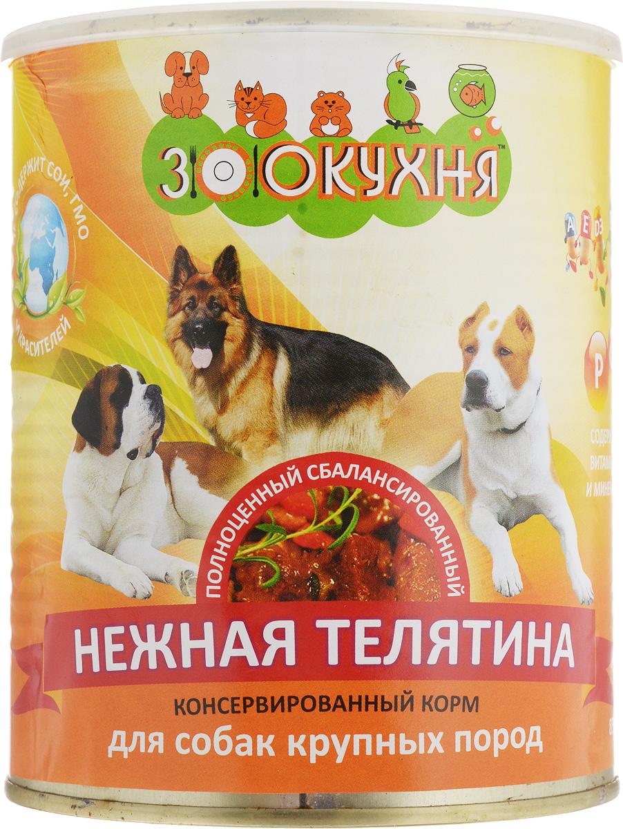 Консервы ЗооКухня, для взрослых собак крупных пород, нежная телятина, 850 г0120710Натуральный корм ЗооКухня предназначен специально для взрослых собак крупных пород. Сбалансированный полнорационный корм с натуральными мясными ингредиентами, обогащенный витаминами, гарантирует вашей собаке здоровье и хорошее настроение каждый день.Товар сертифицирован.