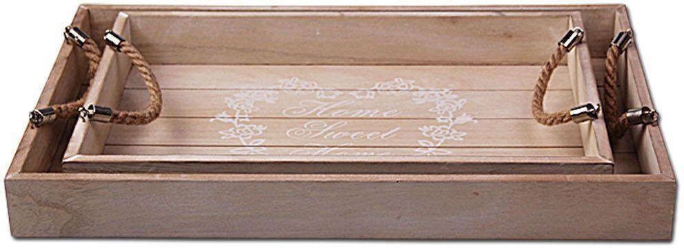Набор подносов Patricia, 2 предмета, цвет: бежевый. IM99-2637LCS996-S-ALНабор подносов Patricia выполнен из дерева. Изделия оснащены веревочными ручками удобными для переноски. Такой набор станет незаменимым атрибутом на кухне любой хозяйки. Теперь воскресные завтраки в постель станут еще вкуснее и уютнее!Размер малого подноса: 40,5 х 26 х 5 см;Размер большого подноса: 48 х 30 х 5 см.