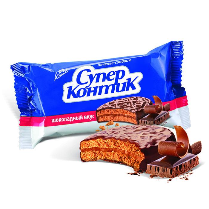 Konti Супер Контик печенье сэндвич шоколадный вкус, 100 г4600495000019Два печенья с шоколадным вкусом с прослойкой шоколадно-сливочного крема посредине, залитые шоколадной глазурью.