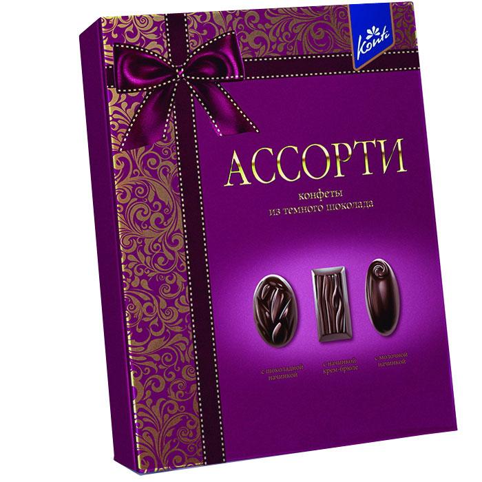 Konti Ассорти набор конфет из темного шоколада, 235 г0120710Набор конфет из натурального черного шоколада с тремя видами начинок: мягкой шоколадной, нежной крем-брюле и легкой молочной.