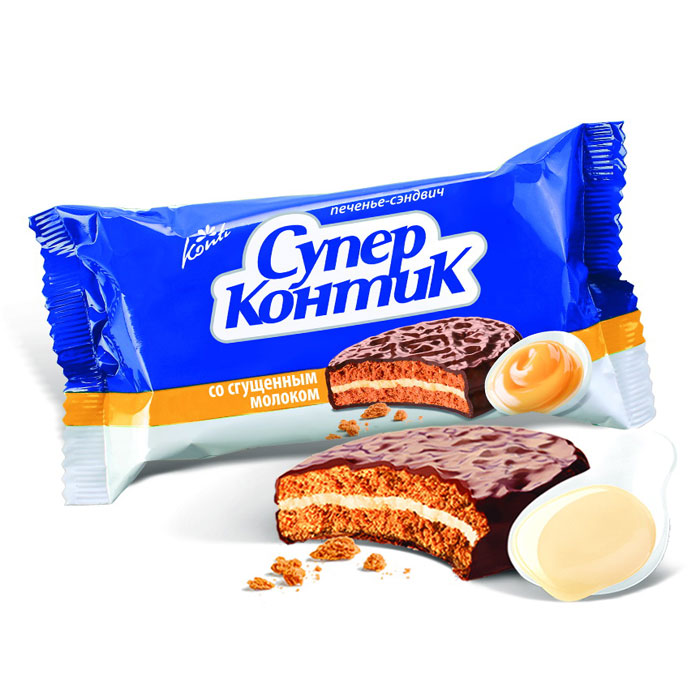 Konti Супер Контик печенье сэндвич со сгущенным молоком, 100 г0120710Два печенья со вкусом сгущенного молока соединены нежным шоколадно-сливочным кремом и залиты шоколадной глазурью.
